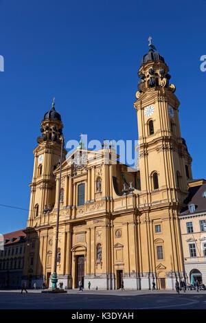 Theatinerkirche St. Kajetan on the Odeonsplatz (square), Munich, Kreuzviertel, Upper Bavaria, Bavaria, Germany, - Stock Photo
