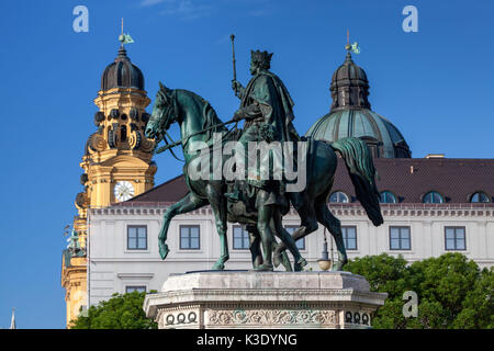 rider monument Ludwig I with Theatinerkirche on the Odeonsplatz (square), city centre, Munich, Upper Bavaria, Bavaria, - Stock Photo