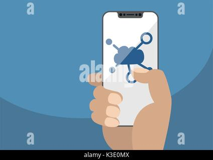 Cloud computing symbol displayed on frameless touchscreen. Hand holding modern bezel free smartphone isolated on blue background. Illustration using f