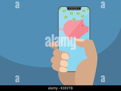 Hand holding modern bezel free smartphone. Piggy bank symbol and dollar coins displayed on frameless touchscreen. - Stock Photo