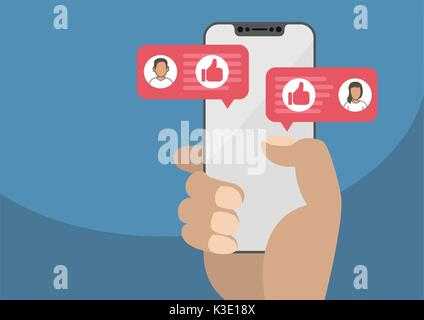 Hand holding modern bezel free smartphone as concept for social network. Thumbs up icon displayed within conversation - Stock Photo