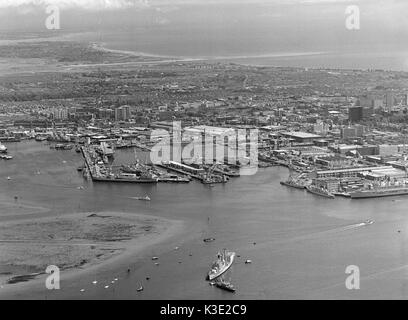 Aerial view of Portsmouth Harbour and Naval Dockyard with the City of Portsmouth in the background, Portsmouth, - Stock Photo