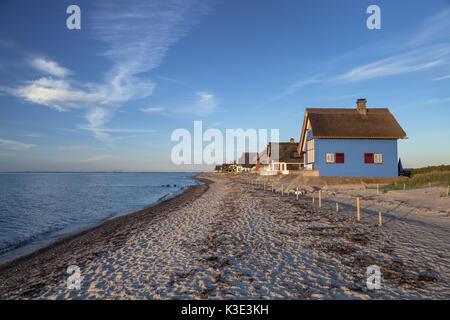 Houses by the sea on the Graswarder, Heiligenhafen, Holstein, Ostholstein, Schleswig - Holstein, Germany, - Stock Photo