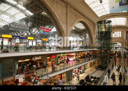 Germany, Saxony, Leipzig, central station promenades, inside - Stock Photo