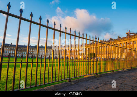 Royal Crescent Bath, view through iron railings of the Royal Crescent and its park in the centre of Bath, England, - Stock Photo