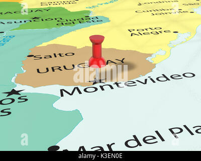 Montevideo Pinned On A Map Of Uruguay Stock Photo Royalty Free - Montevideo map