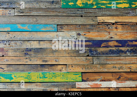 Texture units,multi-colored wooden fence or floor formed from wood, painted in cheerful colors. - Stock Photo