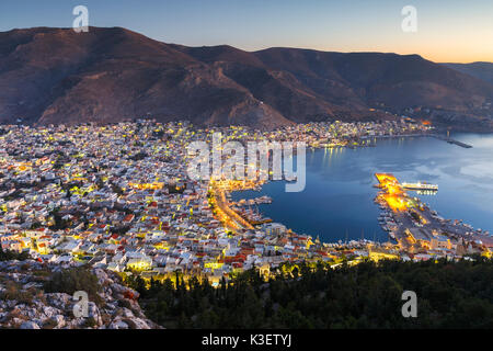 View of the Kalymnos town early in the morning, Greece. - Stock Photo