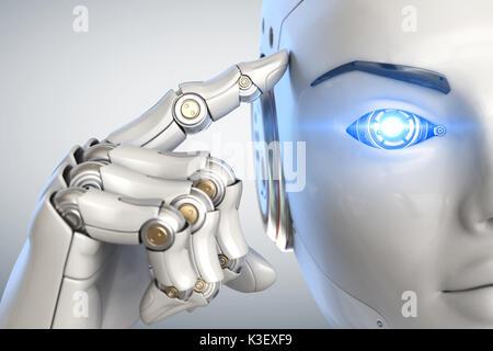 Robot holds a finger near the head. 3D illustration - Stock Photo