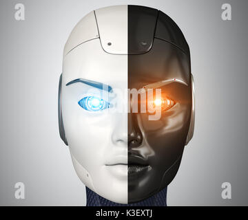 Robot's head close up. 3D illustration - Stock Photo