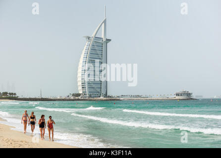 Dubai, United Arab Emirates - Oct 4, 2016: The Burj Al Arab note and Jumeira beach at morning, view from Jumeira - Stock Photo
