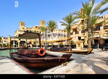 Dubai,United Arab Emirates - October 4, 2016: Dubai Seaside Garden View background with the Burj al Arab Hotel. - Stock Photo