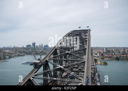 SYDNEY,NSW,AUSTRALIA-NOVEMBER 20,2016: Cruise boat, waterfront architecture and climbers on Sydney Harbour Bridge - Stock Photo