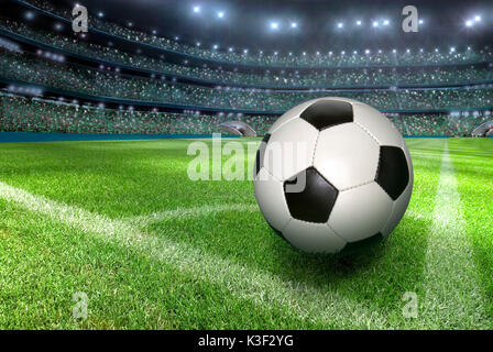 Football stadium, football, corner, grand stand, - Stock Photo