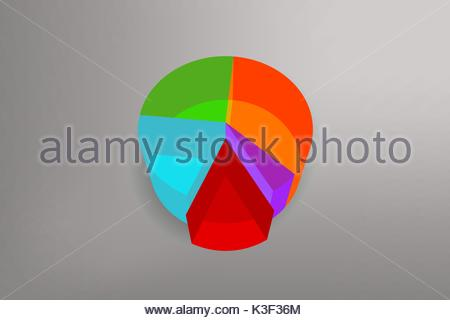 simple colored pie chart desing with background vector illustration - Stock Photo