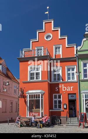 Houses in the historical Old Town on the marketplace, Hanseatic town Greifswald, Western Pomerania, Mecklenburg - Stock Photo