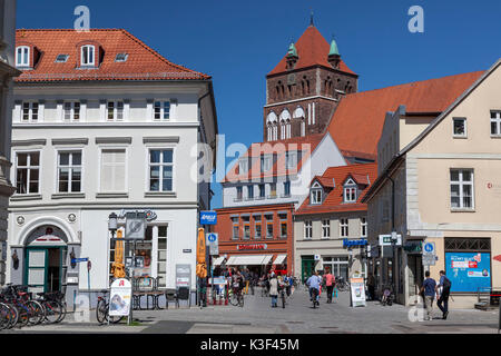 Marketplace with steeple St. Church of St. Mary, Hanseatic town Greifswald - Stock Photo