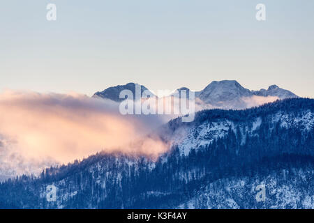 View from Großweil on a cloud over the Kesselberg in front of Soierngebirge (mountain range), Upper Bavaria, Bavaria, - Stock Photo