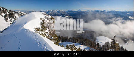 view from the Idealhang at Brauneck mountain on Isar valley, Mangfall Mountains (Mangfallgebirge) and Karwendel - Stock Photo