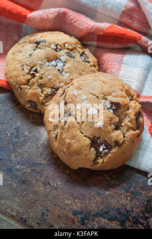 Salted Chocolate Chip Cookies - Stock Photo
