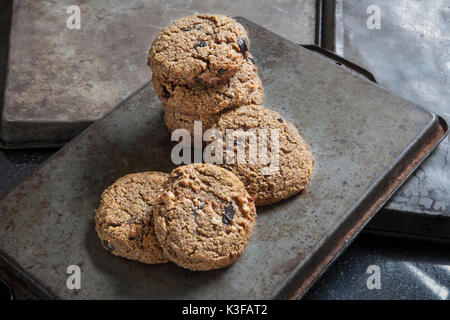 Gluten-Free Pumpkin Spice Cookies with Walnuts and Dark Chocolate - Stock Photo