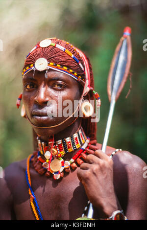 Portrait of a Massaimannes, Kenya - Stock Photo