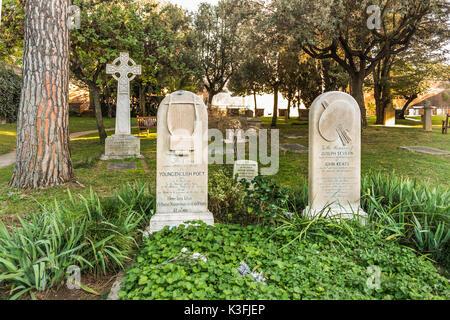 gravesite of john keats, cemeterio acattolico - Stock Photo
