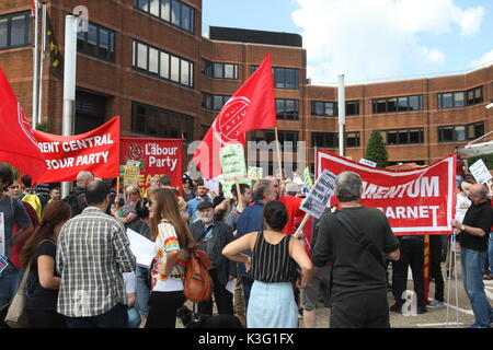 London, UK, 2nd September 2017. McDonalds workers and their supporters rally outside the company's HQ in East Finchley. - Stock Photo