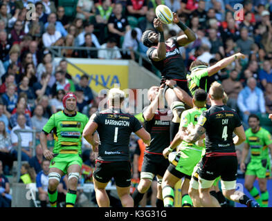 Twickenham, London, UK. 2nd September, 2017. Aviva Premiership Rugby London Double Header at RFU Twickenham UK  - Stock Photo
