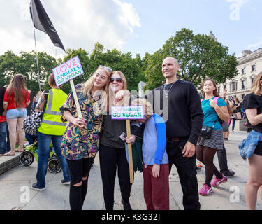 Animal Rights March. London UK. 2nd September, 2017. Up to 5 thousand animal rights campaigners marched through - Stock Photo