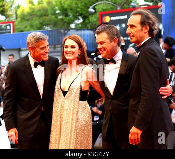 Venice, Italy. 2nd September, 2017. (from right) Alexander Desplat, Matt Damon, Julianne Moore and George Clooney - Stock Photo