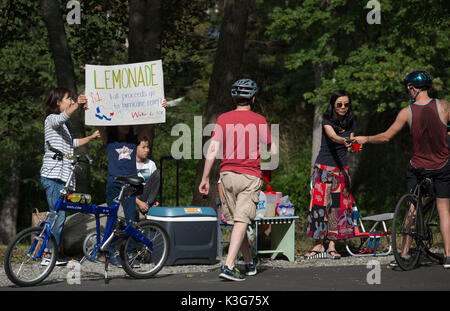 Lexington, MA, USA. 2 September 2017:  Two 5th grade girls with their mothers setup a lemonade stand on the Minuteman - Stock Photo