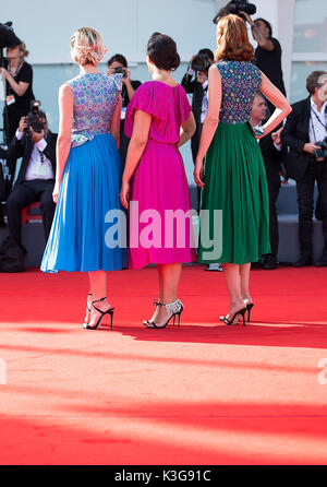 Venice, Italy. 2nd Sep, 2017. Guests pose on the red carpet for the premiere of the movie 'Suburbicon' in competition - Stock Photo