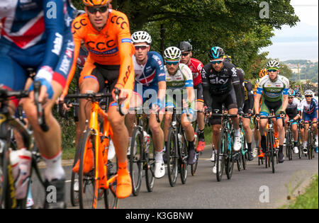 East Lothian, Scotland, United Kingdom, 3rd September 2017. The main body of cyclists in the Tour of Britain Stage - Stock Photo