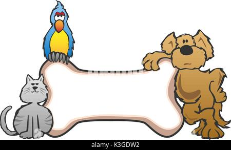 Dog, Bird and Cat with Bone Pet Sign Logo - Stock Photo