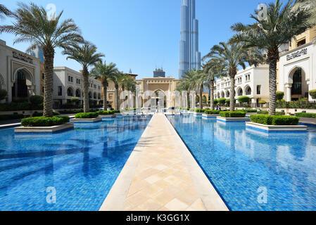 Dubai, United Arab Emirates - Oct 7, 2016: dubai downtown with burj khalifa tower background - Stock Photo