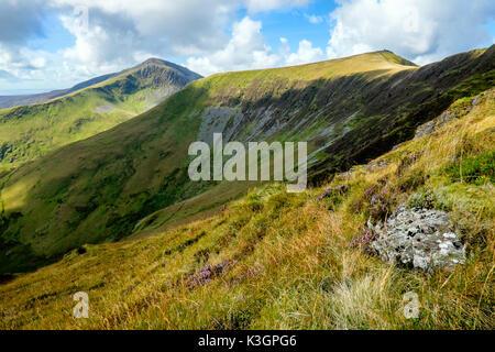 Craig Cwm Silyn and Mynydd Tal-y-mignedd on the Nantle Ridge above Cwm Pennant, Snowdonia, North Wales, UK - Stock Photo