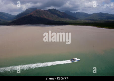 Boat in Trinitay Bay, Trinity Inlet, Queensland, Australia - Stock Photo