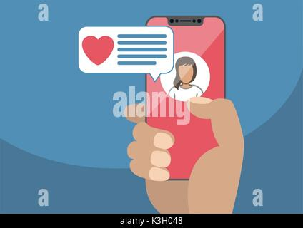 Concept of online dating and mobile chat app. Male hand holding modern bezel-free smartphone as vector illustration - Stock Photo