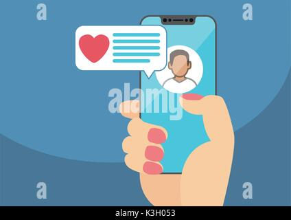 Concept of online dating and mobile chat app. Female hand holding modern bezel-free smartphone as vector illustration - Stock Photo