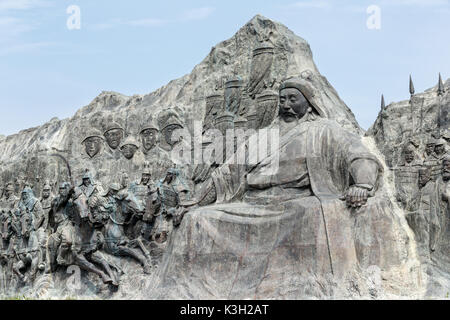 The site of Xanadu, Inner Mongolia, China - July 26, 2017: Reliefs and the statue of Kublai Khan grandson of Genghis - Stock Photo