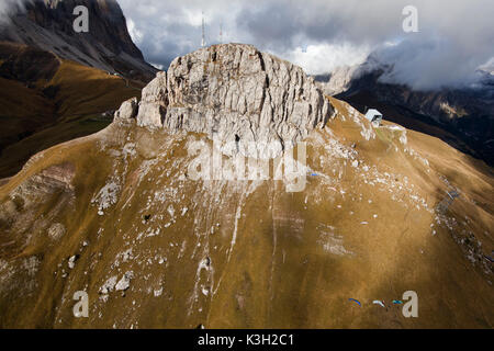 Col Rodella, dolomites, aerial cable car, Fassatal, aerial picture, Trentino, Italy - Stock Photo