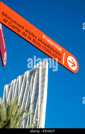 View of a modern building Telefonica Headquarters in the Diagonal mar district, Barcelona,Spain - Stock Photo