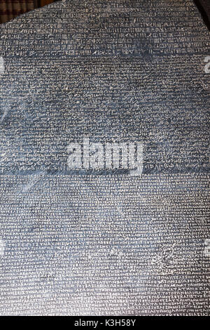 England, London, British Museum, The Rosetta Stone - Stock Photo