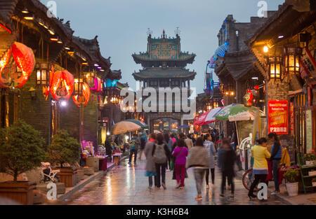 China, Shanxi Province, Pingyao City (W.H.), South Street, Market Tower - Stock Photo