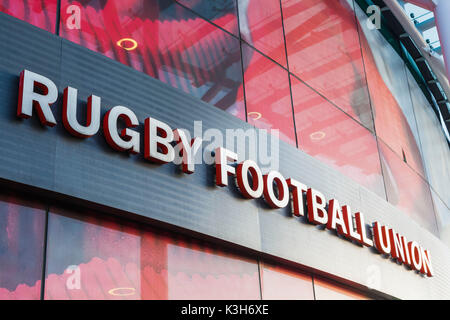 England, London, Richmond, Twickenham Rugby Stadium, Rugby Football Union Football Sign - Stock Photo