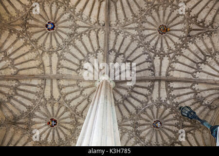 England, Oxfordshire, Oxford, Christ Church College, The Great Hall Staircase, Fan-vaulted Ceiling - Stock Photo