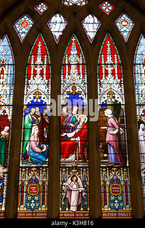 England, Worcestershire, Cotswolds, Evesham, Evesham Abbey, All Saints Church, Stained Glass Window - Stock Photo