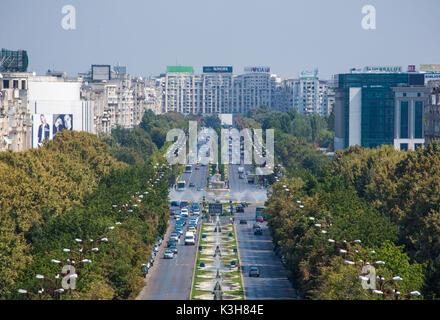 Romania, Bucharest City, Unirii Boulevard, Parliament Building, - Stock Photo