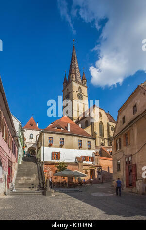 Romania, Sibiu City, Evangelical Cathedral Tower - Stock Photo